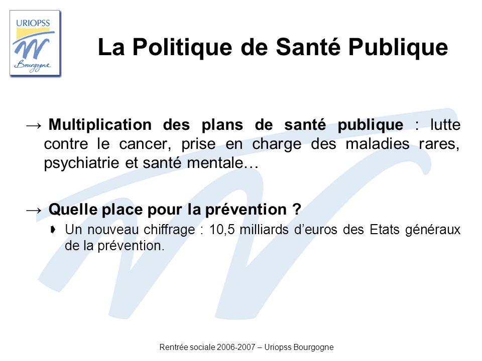 La Politique de Santé Publique Multiplication des plans de santé publique : lutte contre le cancer, prise en charge des maladies rares, psychiatrie et