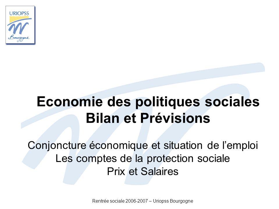 Rentrée sociale 2006-2007 – Uriopss Bourgogne Economie des politiques sociales Bilan et Prévisions Conjoncture économique et situation de lemploi Les