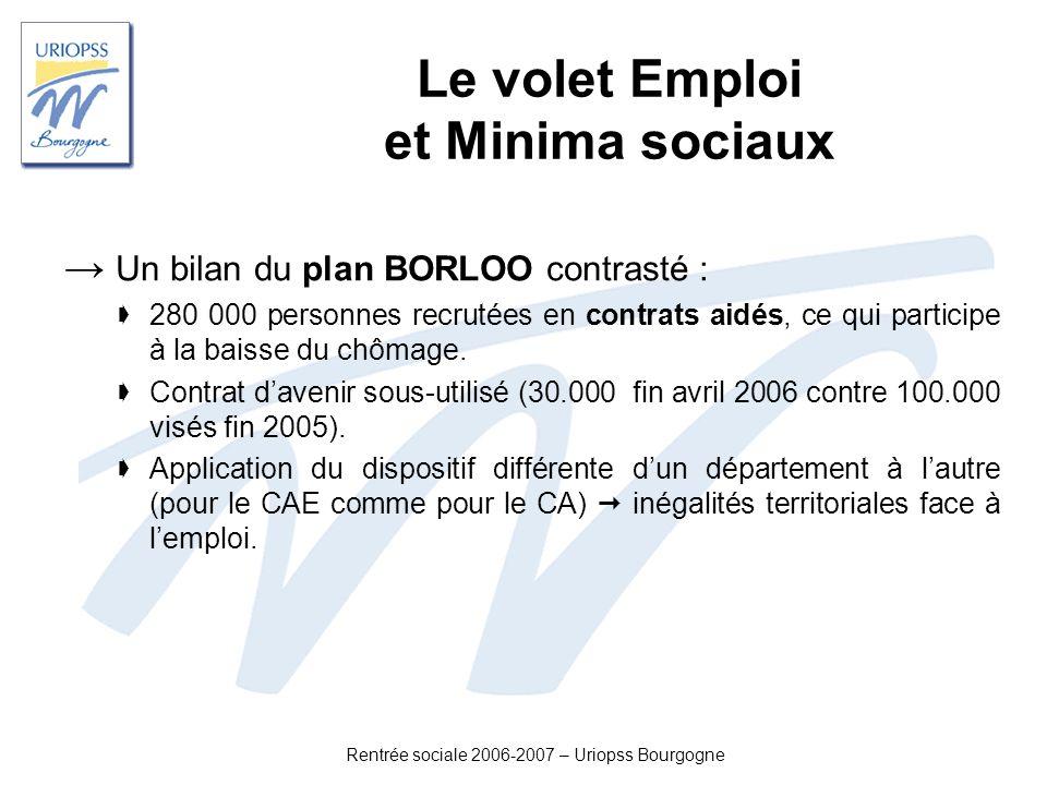 Rentrée sociale 2006-2007 – Uriopss Bourgogne Le volet Emploi et Minima sociaux Un bilan du plan BORLOO contrasté : 280 000 personnes recrutées en con