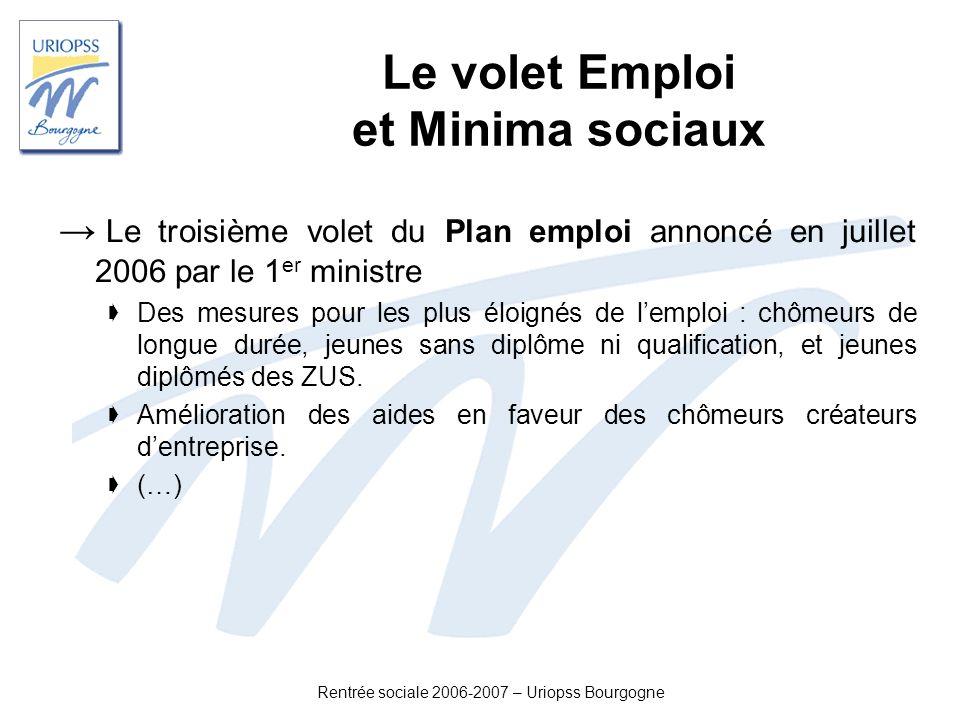Rentrée sociale 2006-2007 – Uriopss Bourgogne Le volet Emploi et Minima sociaux Le troisième volet du Plan emploi annoncé en juillet 2006 par le 1 er
