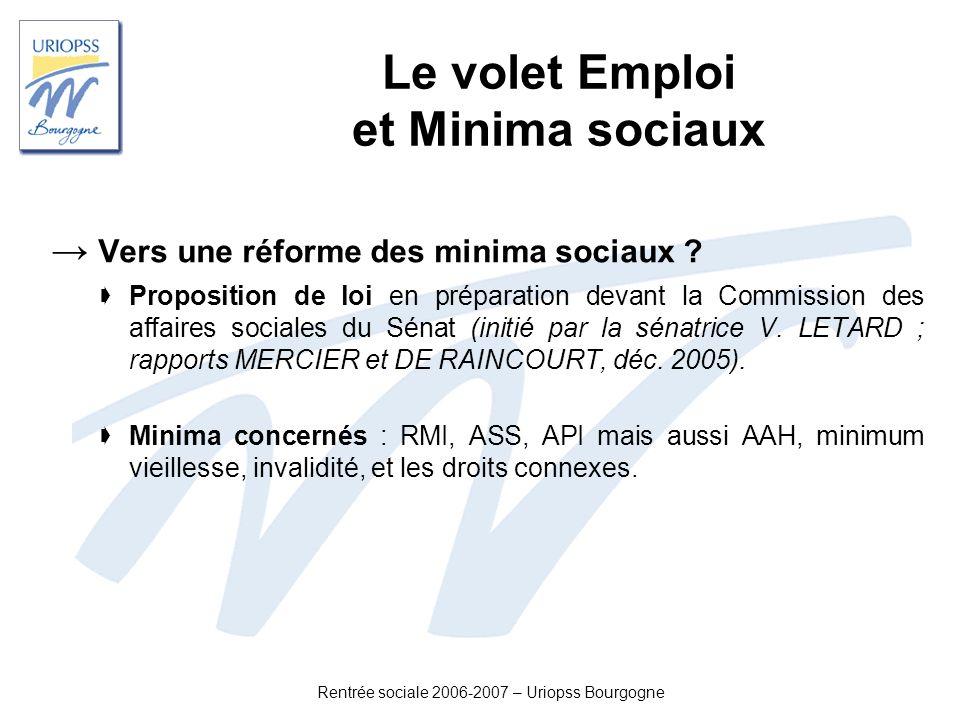 Rentrée sociale 2006-2007 – Uriopss Bourgogne Le volet Emploi et Minima sociaux Vers une réforme des minima sociaux ? Proposition de loi en préparatio