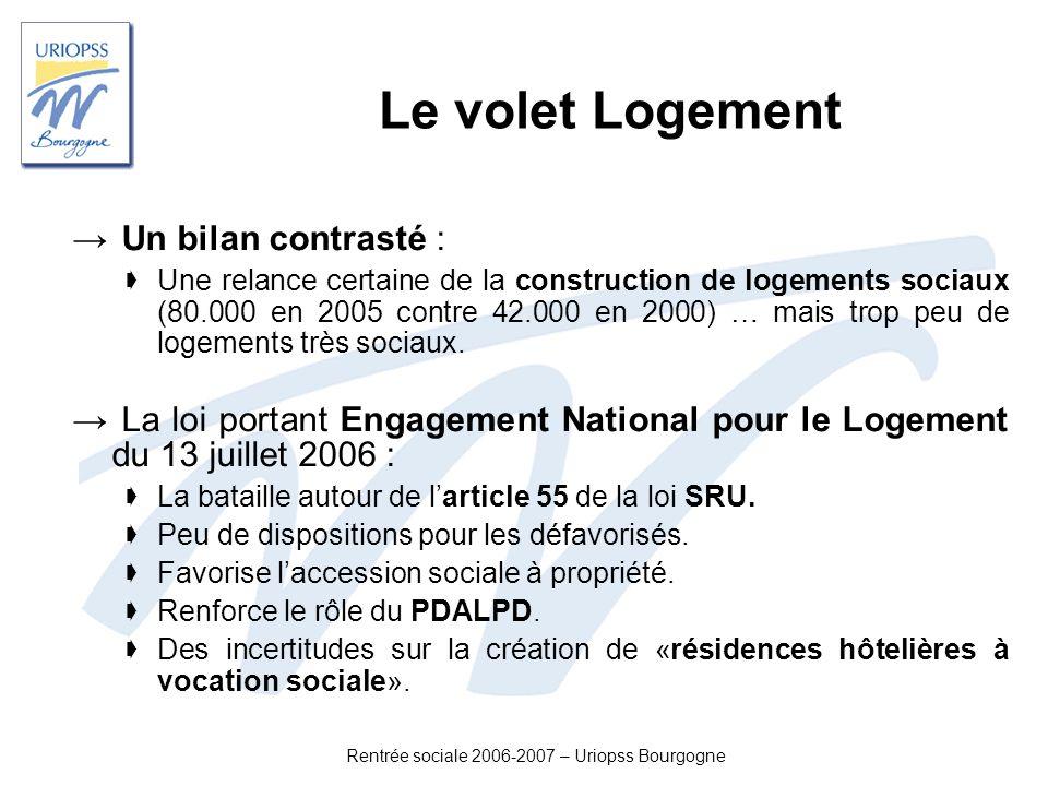 Rentrée sociale 2006-2007 – Uriopss Bourgogne Le volet Logement Un bilan contrasté : Une relance certaine de la construction de logements sociaux (80.