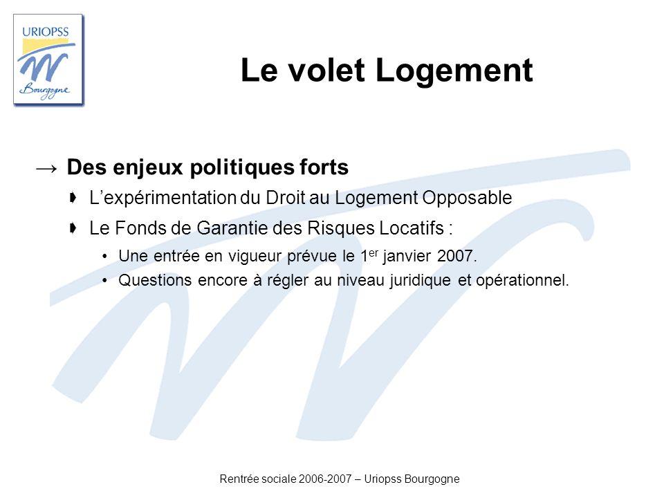 Rentrée sociale 2006-2007 – Uriopss Bourgogne Le volet Logement Des enjeux politiques forts Lexpérimentation du Droit au Logement Opposable Le Fonds d