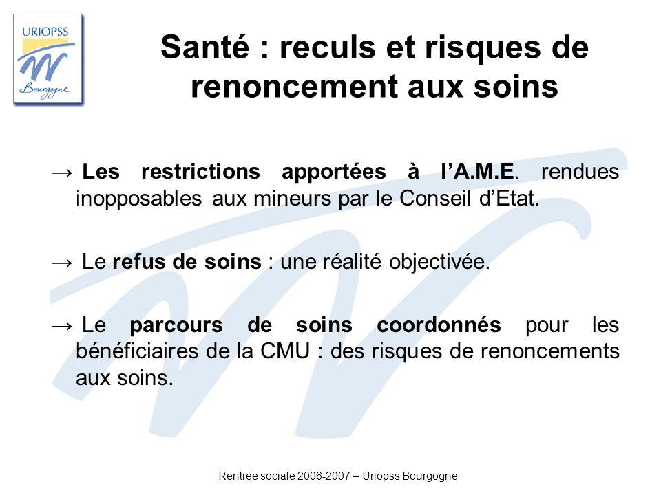 Rentrée sociale 2006-2007 – Uriopss Bourgogne Santé : reculs et risques de renoncement aux soins Les restrictions apportées à lA.M.E. rendues inopposa