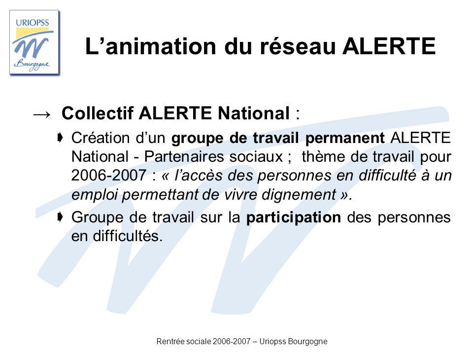 Rentrée sociale 2006-2007 – Uriopss Bourgogne Lanimation du réseau ALERTE Collectif ALERTE National : Création dun groupe de travail permanent ALERTE