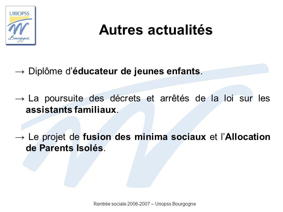 Rentrée sociale 2006-2007 – Uriopss Bourgogne Autres actualités Diplôme déducateur de jeunes enfants. La poursuite des décrets et arrêtés de la loi su