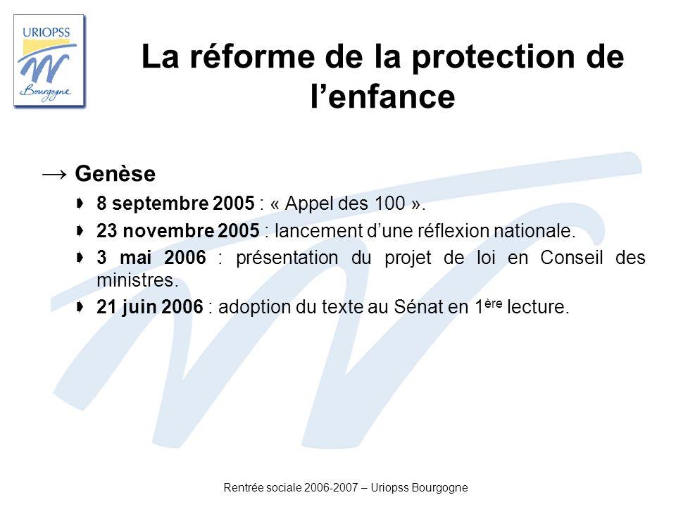 Rentrée sociale 2006-2007 – Uriopss Bourgogne La réforme de la protection de lenfance Genèse 8 septembre 2005 : « Appel des 100 ». 23 novembre 2005 :