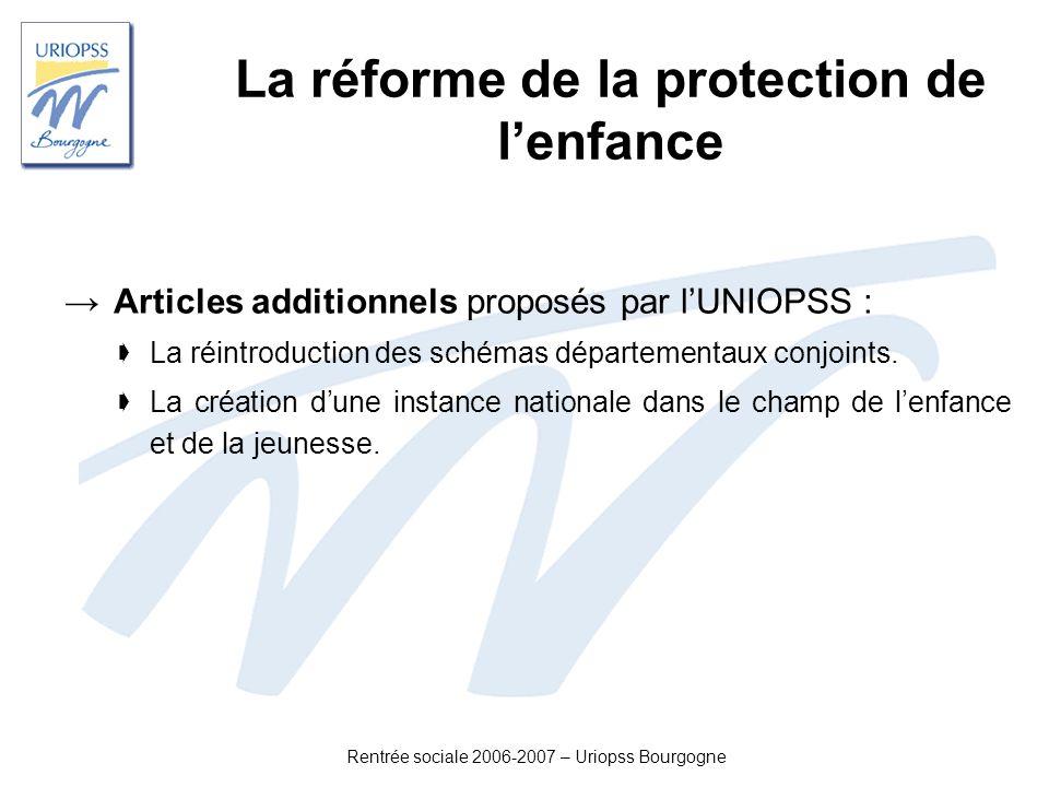 Rentrée sociale 2006-2007 – Uriopss Bourgogne La réforme de la protection de lenfance Articles additionnels proposés par lUNIOPSS : La réintroduction