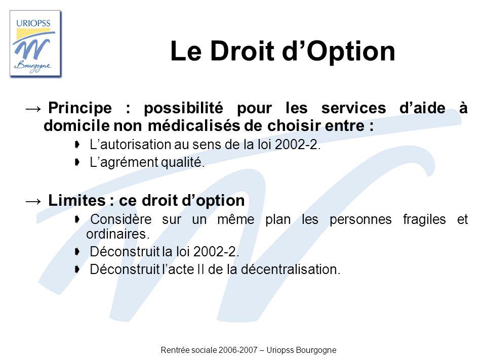 Rentrée sociale 2006-2007 – Uriopss Bourgogne Le Droit dOption Principe : possibilité pour les services daide à domicile non médicalisés de choisir en