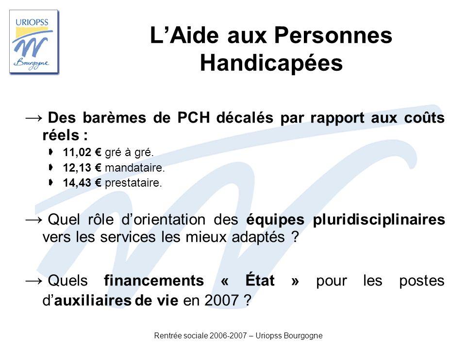 Rentrée sociale 2006-2007 – Uriopss Bourgogne LAide aux Personnes Handicapées Des barèmes de PCH décalés par rapport aux coûts réels : 11,02 gré à gré