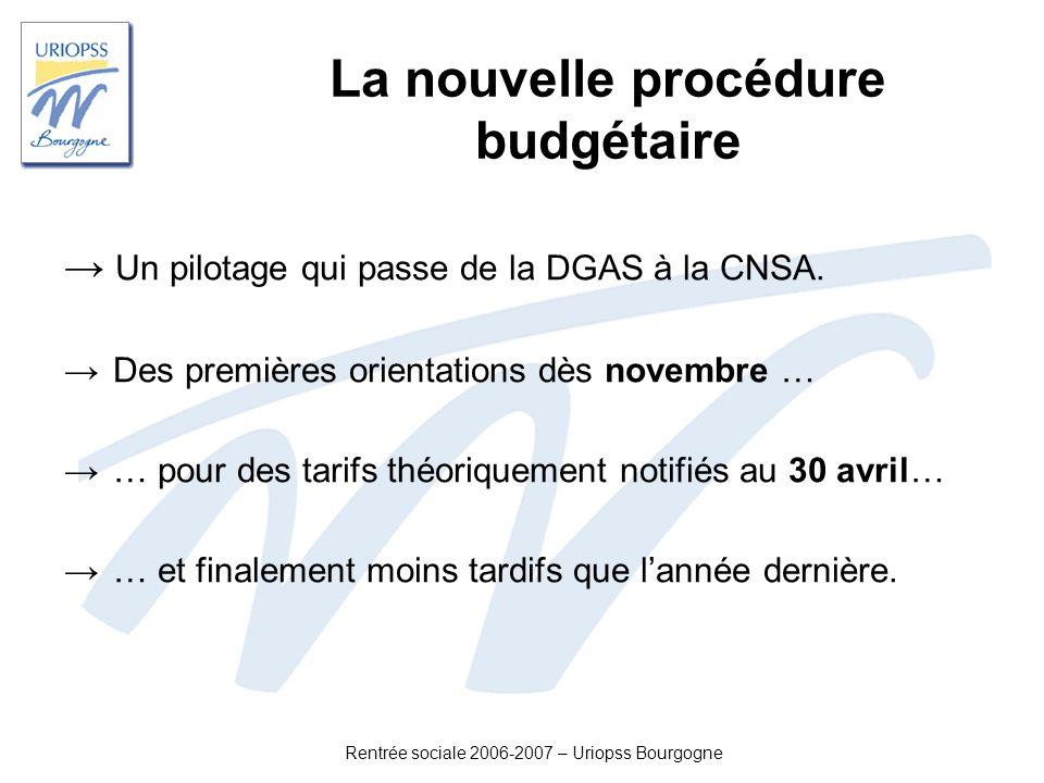 Rentrée sociale 2006-2007 – Uriopss Bourgogne La nouvelle procédure budgétaire Un pilotage qui passe de la DGAS à la CNSA. Des premières orientations