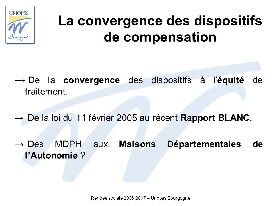 Rentrée sociale 2006-2007 – Uriopss Bourgogne La convergence des dispositifs de compensation De la convergence des dispositifs à léquité de traitement