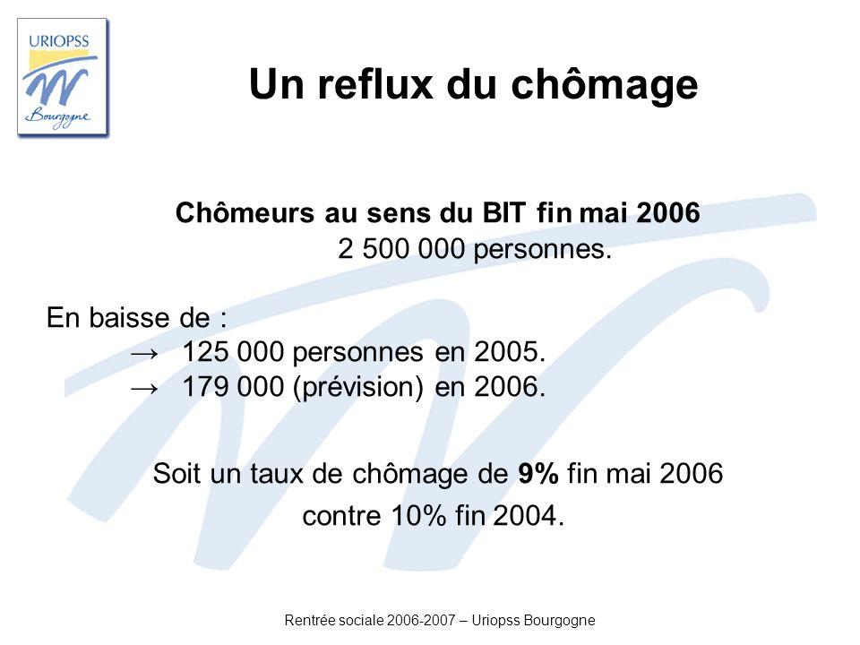 Rentrée sociale 2006-2007 – Uriopss Bourgogne Un reflux du chômage Chômeurs au sens du BIT fin mai 2006 2 500 000 personnes. En baisse de : 125 000 pe