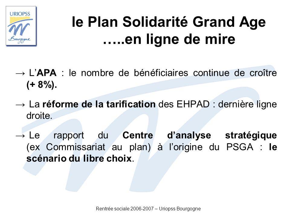 Rentrée sociale 2006-2007 – Uriopss Bourgogne le Plan Solidarité Grand Age …..en ligne de mire LAPA : le nombre de bénéficiaires continue de croître (