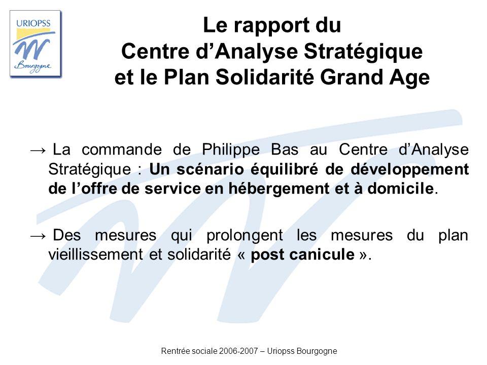 Rentrée sociale 2006-2007 – Uriopss Bourgogne Le rapport du Centre dAnalyse Stratégique et le Plan Solidarité Grand Age La commande de Philippe Bas au