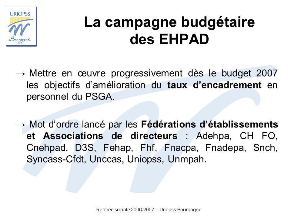 Rentrée sociale 2006-2007 – Uriopss Bourgogne La campagne budgétaire des EHPAD Mettre en œuvre progressivement dès le budget 2007 les objectifs daméli