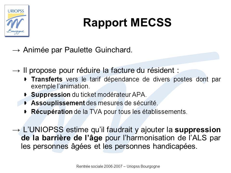 Rentrée sociale 2006-2007 – Uriopss Bourgogne Rapport MECSS Animée par Paulette Guinchard. Il propose pour réduire la facture du résident : Transferts