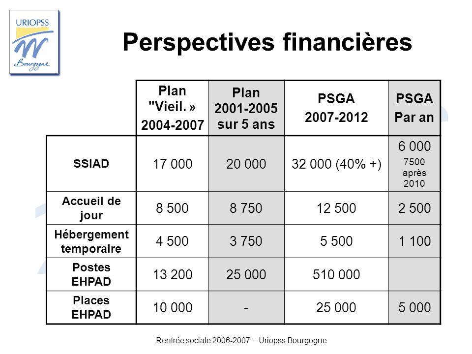 Rentrée sociale 2006-2007 – Uriopss Bourgogne Perspectives financières Plan