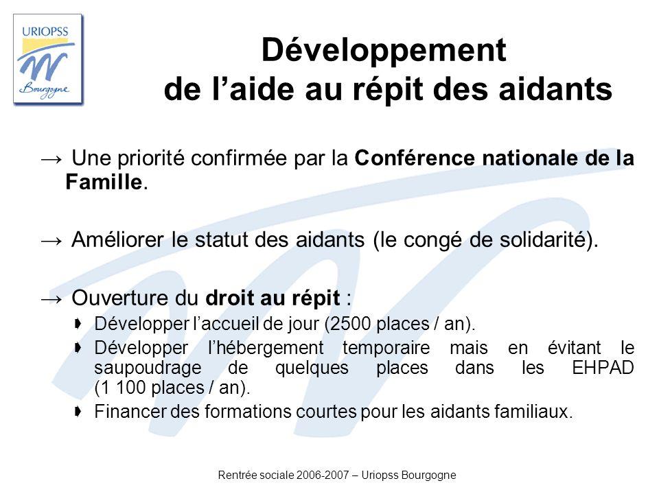 Rentrée sociale 2006-2007 – Uriopss Bourgogne Développement de laide au répit des aidants Une priorité confirmée par la Conférence nationale de la Fam