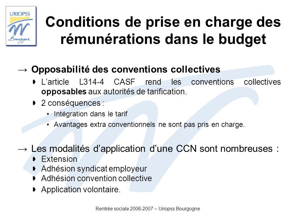 Rentrée sociale 2006-2007 – Uriopss Bourgogne Conditions de prise en charge des rémunérations dans le budget Opposabilité des conventions collectives
