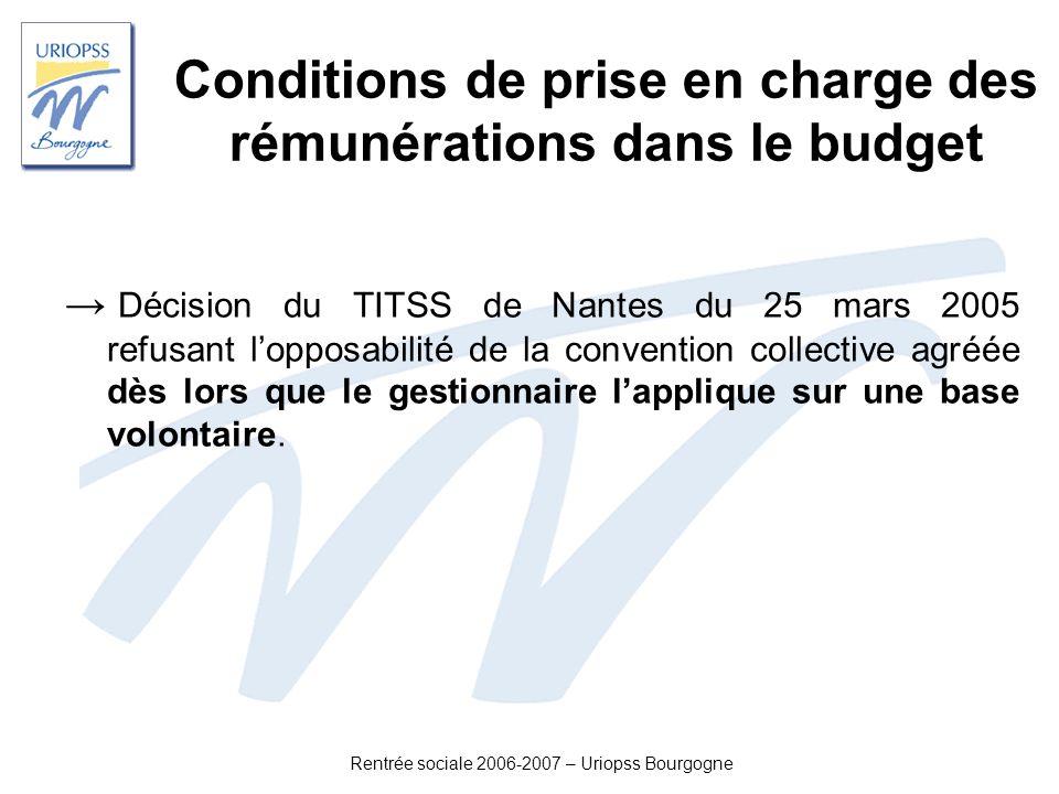 Rentrée sociale 2006-2007 – Uriopss Bourgogne Conditions de prise en charge des rémunérations dans le budget Décision du TITSS de Nantes du 25 mars 20