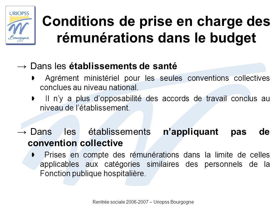Rentrée sociale 2006-2007 – Uriopss Bourgogne Conditions de prise en charge des rémunérations dans le budget Dans les établissements de santé Agrément