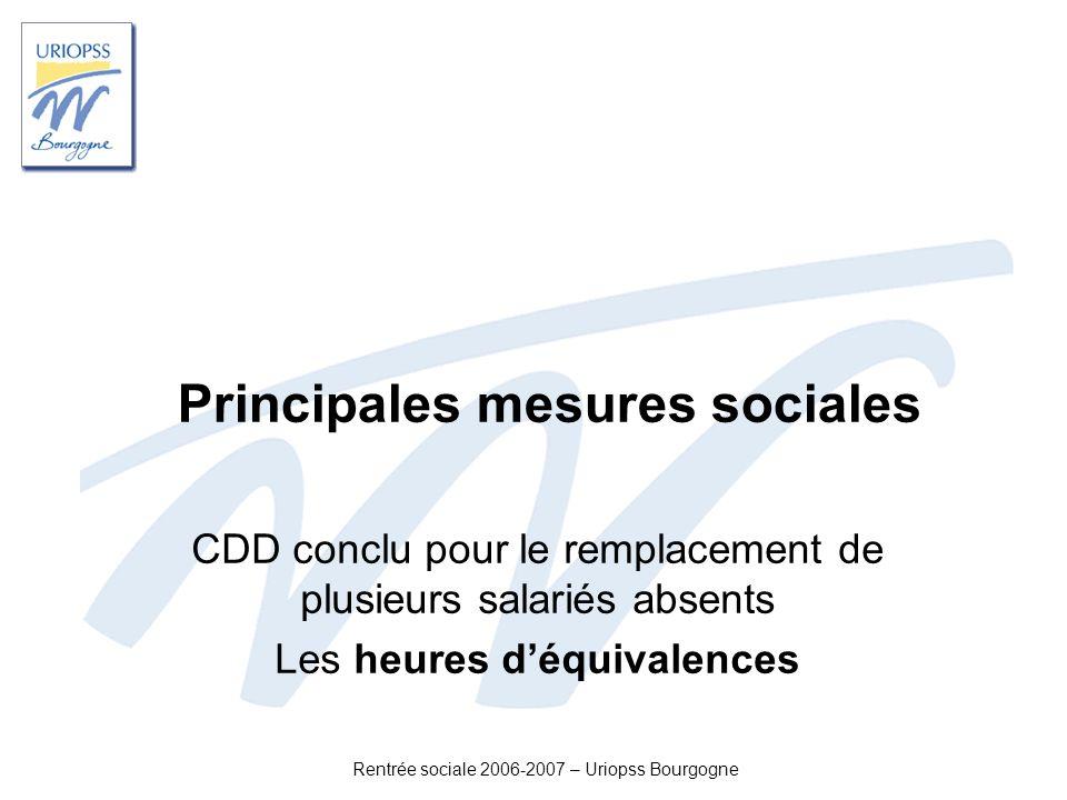Rentrée sociale 2006-2007 – Uriopss Bourgogne Principales mesures sociales CDD conclu pour le remplacement de plusieurs salariés absents Les heures dé