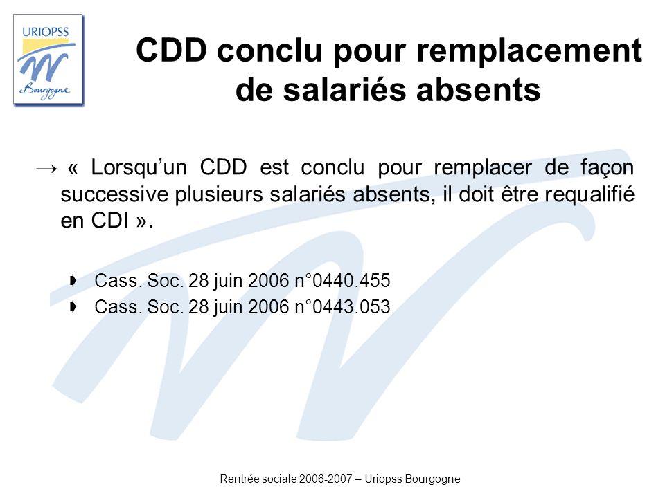 Rentrée sociale 2006-2007 – Uriopss Bourgogne CDD conclu pour remplacement de salariés absents « Lorsquun CDD est conclu pour remplacer de façon succe