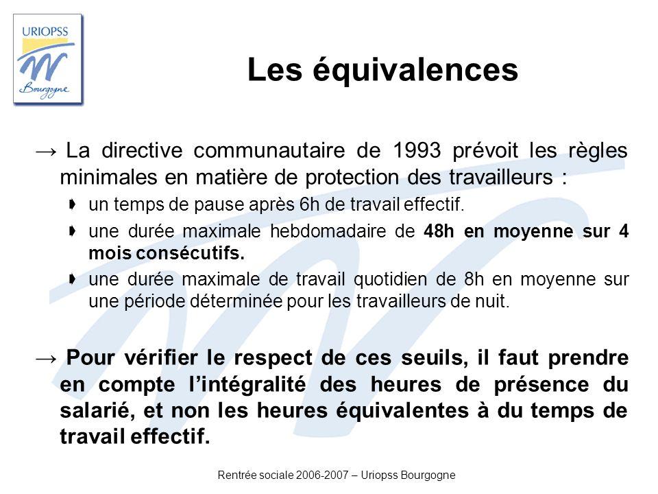 Rentrée sociale 2006-2007 – Uriopss Bourgogne Les équivalences La directive communautaire de 1993 prévoit les règles minimales en matière de protectio