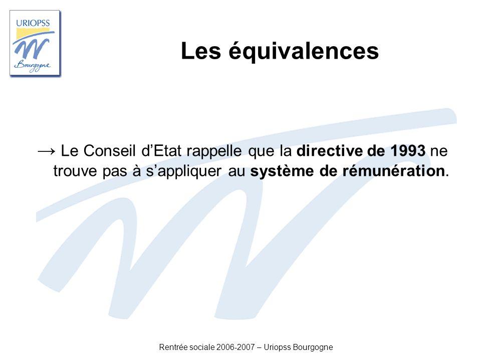 Rentrée sociale 2006-2007 – Uriopss Bourgogne Les équivalences Le Conseil dEtat rappelle que la directive de 1993 ne trouve pas à sappliquer au systèm