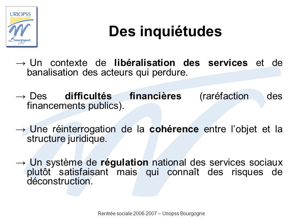 Rentrée sociale 2006-2007 – Uriopss Bourgogne Des inquiétudes Un contexte de libéralisation des services et de banalisation des acteurs qui perdure. D