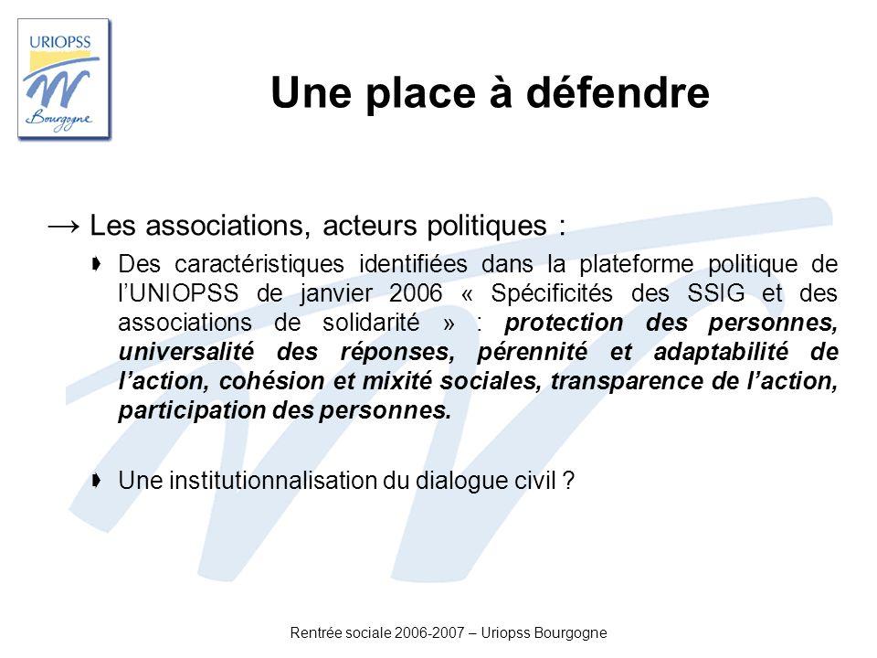 Rentrée sociale 2006-2007 – Uriopss Bourgogne Une place à défendre Les associations, acteurs politiques : Des caractéristiques identifiées dans la pla