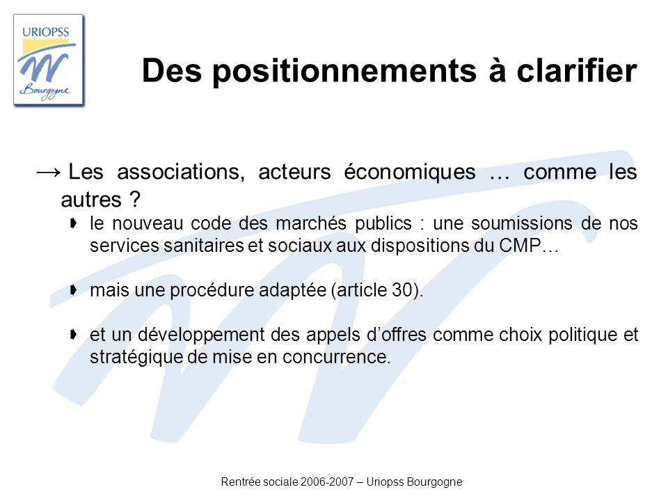 Rentrée sociale 2006-2007 – Uriopss Bourgogne Des positionnements à clarifier Les associations, acteurs économiques … comme les autres ? le nouveau co
