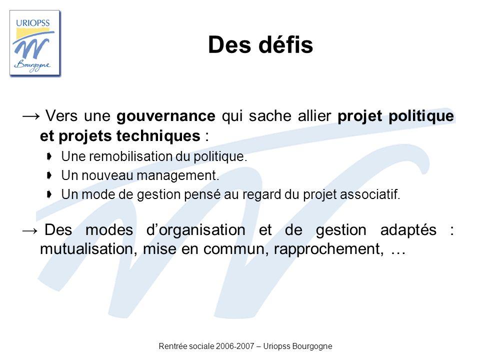 Rentrée sociale 2006-2007 – Uriopss Bourgogne Des défis Vers une gouvernance qui sache allier projet politique et projets techniques : Une remobilisat