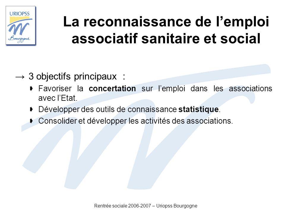 Rentrée sociale 2006-2007 – Uriopss Bourgogne La reconnaissance de lemploi associatif sanitaire et social 3 objectifs principaux : Favoriser la concer
