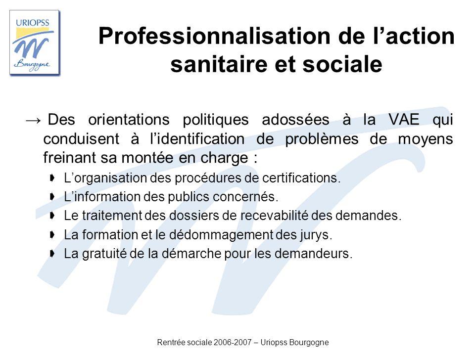 Rentrée sociale 2006-2007 – Uriopss Bourgogne Professionnalisation de laction sanitaire et sociale Des orientations politiques adossées à la VAE qui c