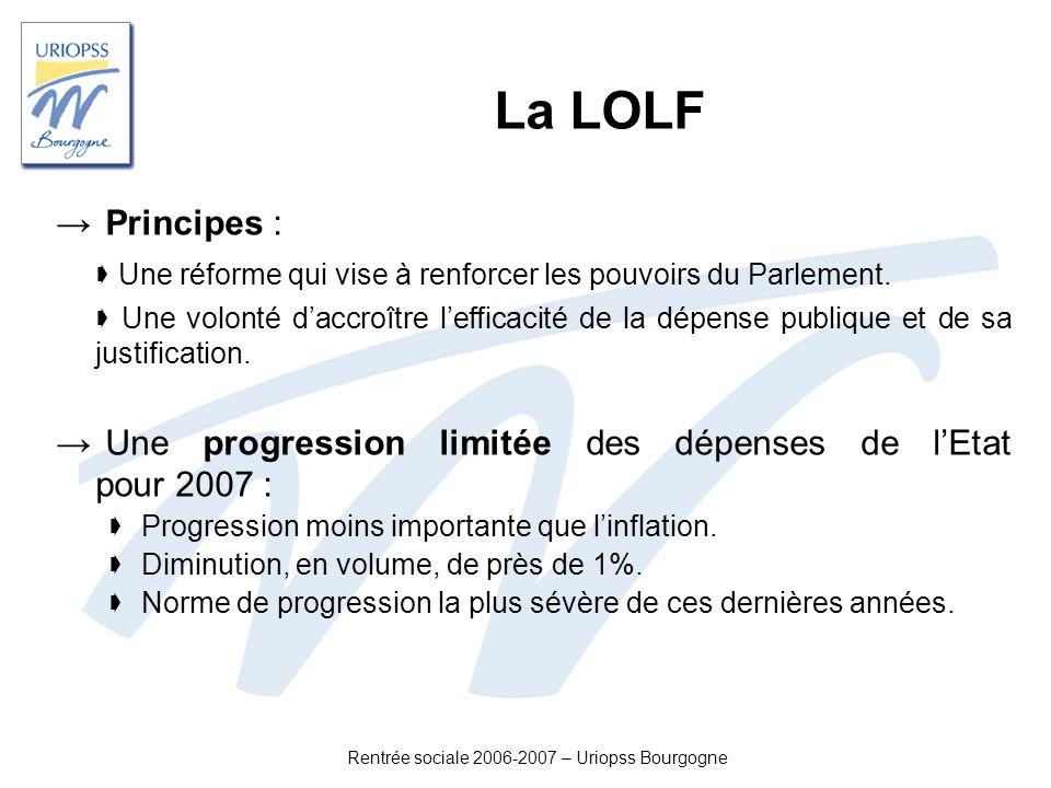 Rentrée sociale 2006-2007 – Uriopss Bourgogne La LOLF Principes : Une réforme qui vise à renforcer les pouvoirs du Parlement. Une volonté daccroître l