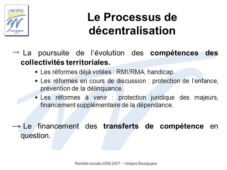 Rentrée sociale 2006-2007 – Uriopss Bourgogne Le Processus de décentralisation La poursuite de lévolution des compétences des collectivités territoria