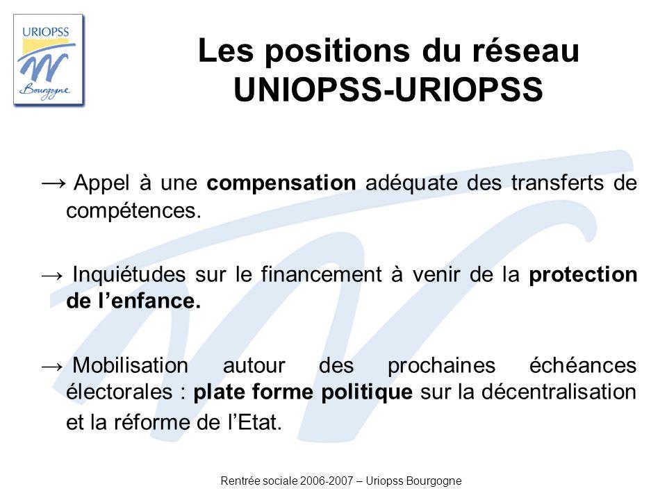Rentrée sociale 2006-2007 – Uriopss Bourgogne Les positions du réseau UNIOPSS-URIOPSS Appel à une compensation adéquate des transferts de compétences.