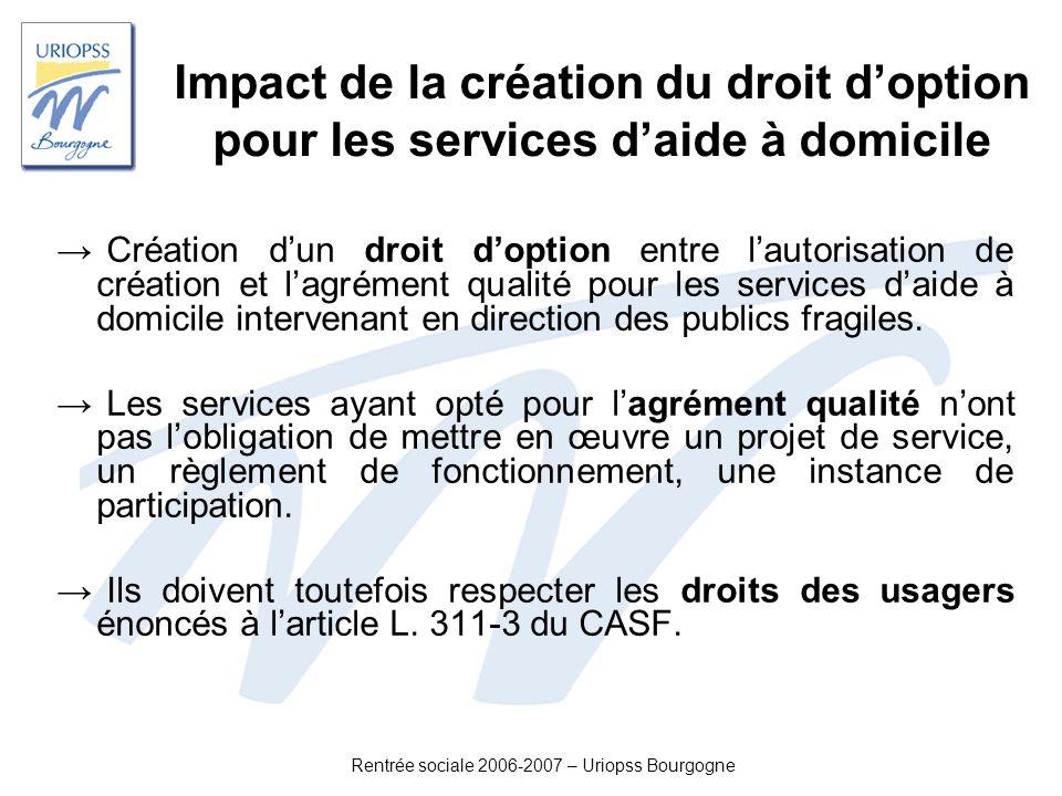 Rentrée sociale 2006-2007 – Uriopss Bourgogne Impact de la création du droit doption pour les services daide à domicile Création dun droit doption ent