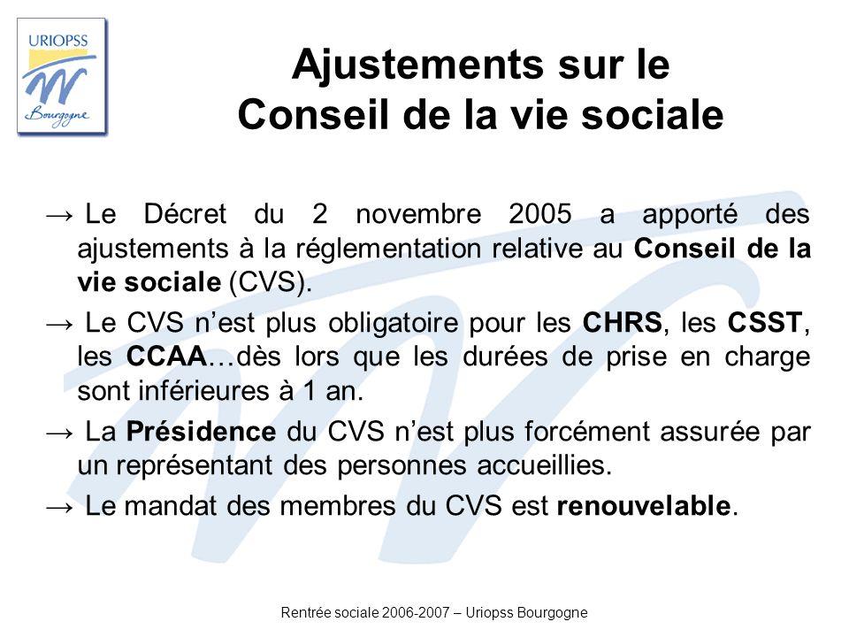 Rentrée sociale 2006-2007 – Uriopss Bourgogne Ajustements sur le Conseil de la vie sociale Le Décret du 2 novembre 2005 a apporté des ajustements à la