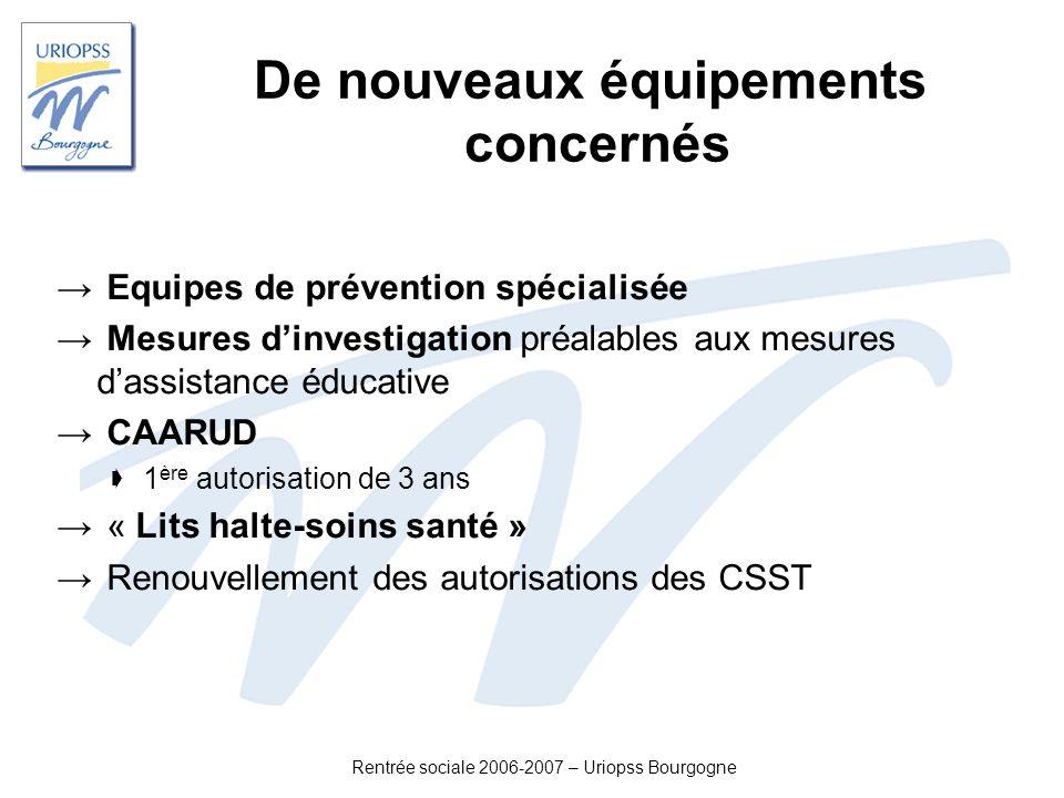 Rentrée sociale 2006-2007 – Uriopss Bourgogne De nouveaux équipements concernés Equipes de prévention spécialisée Mesures dinvestigation préalables au
