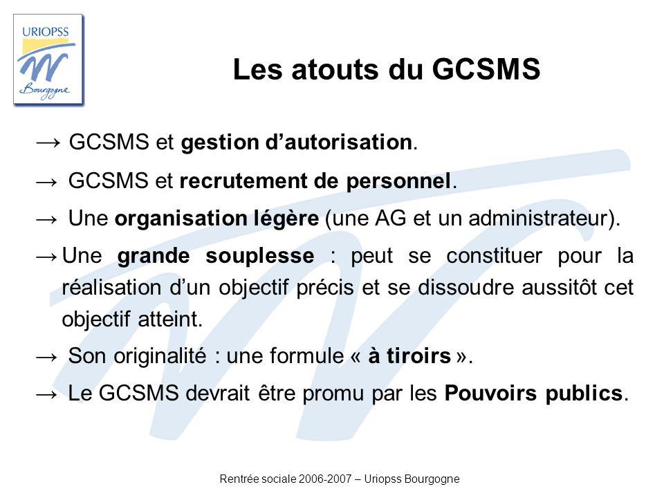 Rentrée sociale 2006-2007 – Uriopss Bourgogne Les atouts du GCSMS GCSMS et gestion dautorisation. GCSMS et recrutement de personnel. Une organisation