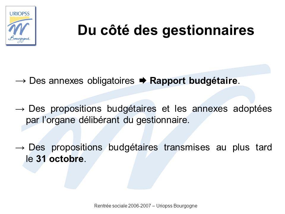 Rentrée sociale 2006-2007 – Uriopss Bourgogne Du côté des gestionnaires Des annexes obligatoires Rapport budgétaire. Des propositions budgétaires et l