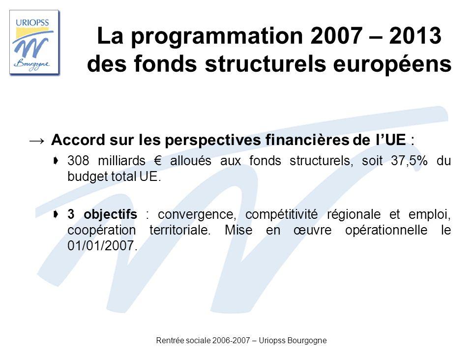 Rentrée sociale 2006-2007 – Uriopss Bourgogne La programmation 2007 – 2013 des fonds structurels européens Pour la France : 12,6 milliards (contre 6 milliards pour 2000 – 2006).