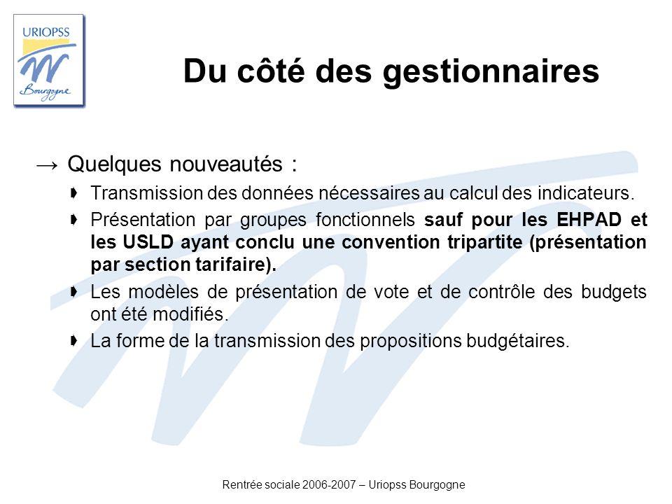 Rentrée sociale 2006-2007 – Uriopss Bourgogne Du côté des gestionnaires Quelques nouveautés : Transmission des données nécessaires au calcul des indic