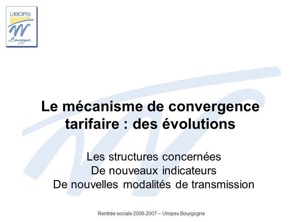 Rentrée sociale 2006-2007 – Uriopss Bourgogne Le mécanisme de convergence tarifaire : des évolutions Les structures concernées De nouveaux indicateurs