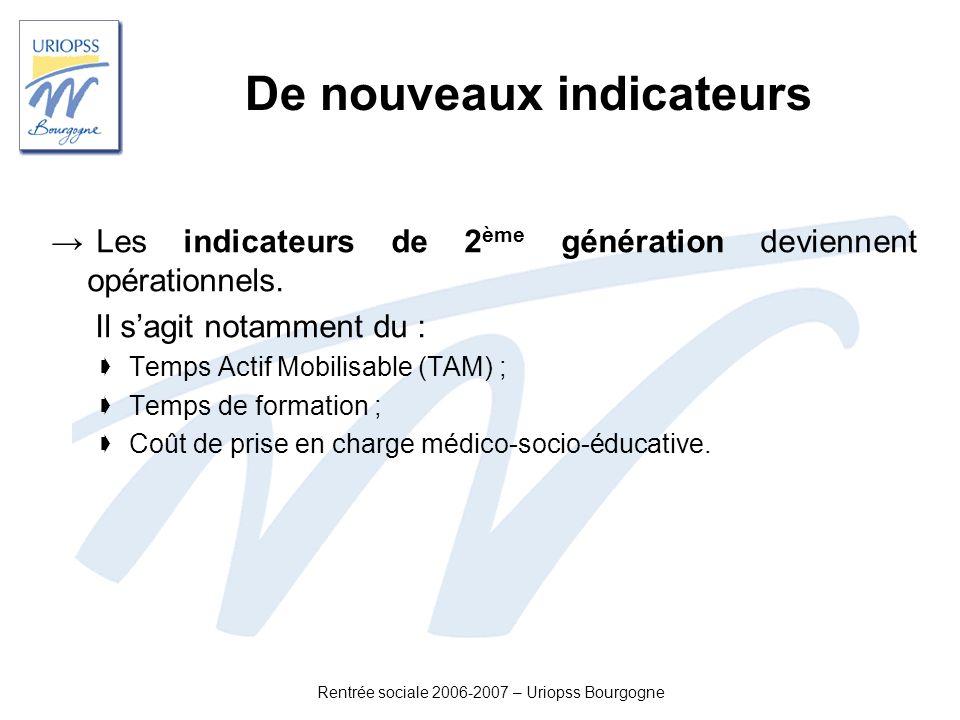Rentrée sociale 2006-2007 – Uriopss Bourgogne De nouveaux indicateurs Les indicateurs de 2 ème génération deviennent opérationnels. Il sagit notamment