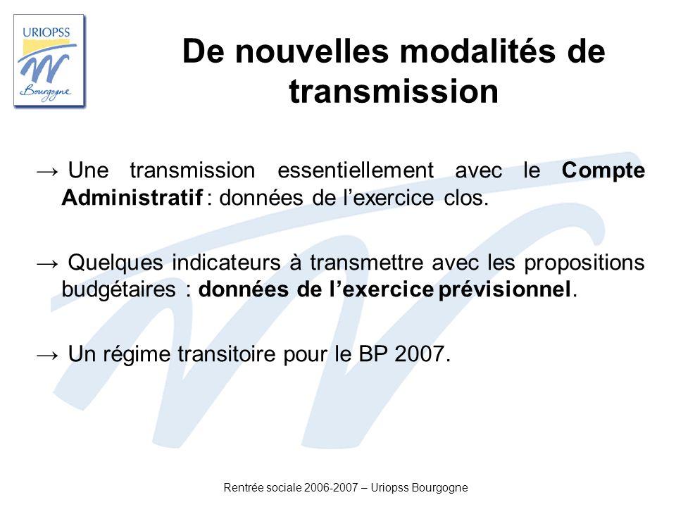 Rentrée sociale 2006-2007 – Uriopss Bourgogne De nouvelles modalités de transmission Une transmission essentiellement avec le Compte Administratif : d