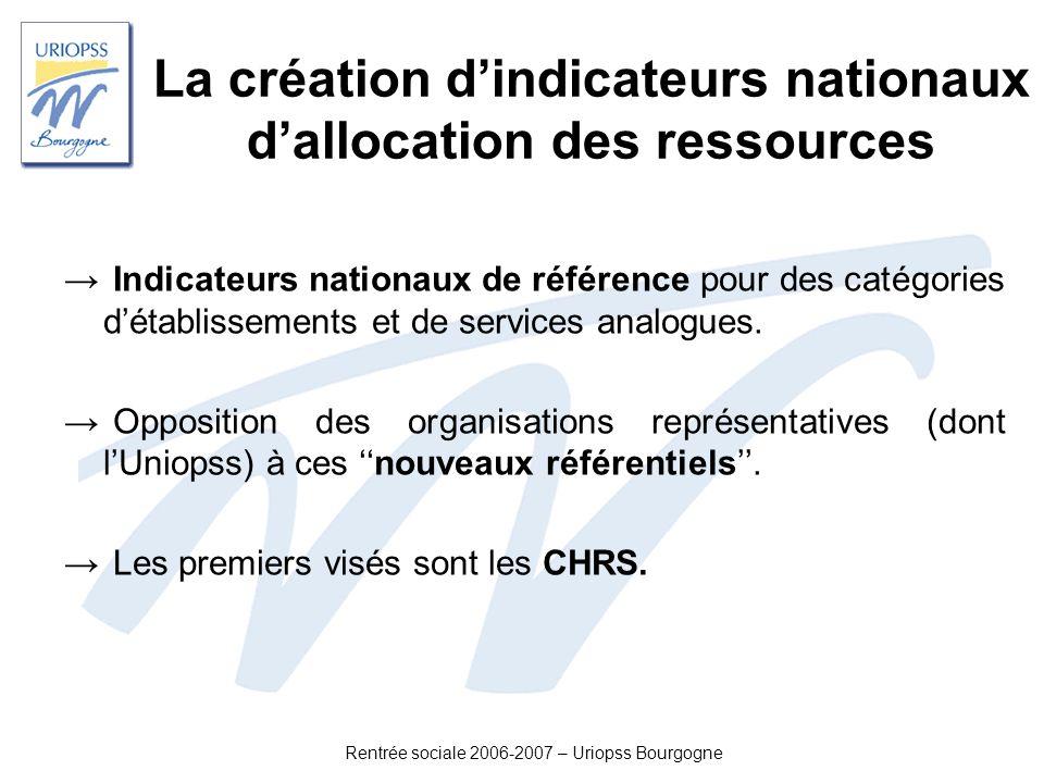 Rentrée sociale 2006-2007 – Uriopss Bourgogne La création dindicateurs nationaux dallocation des ressources Indicateurs nationaux de référence pour de